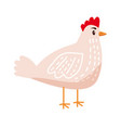 cute chicken hen animal bird trend cartoon vector image