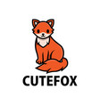 cute fox cartoon logo icon vector image