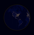 earth sphere lights of cities north and south vector image