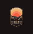 emblem patch logo zion national park vector image vector image