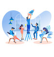 flat people work in office to develop web sites vector image