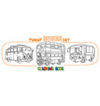 funny small retro bus with eyes coloring book set vector image