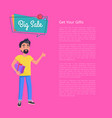 get your gifts big sale poster man holds box vector image vector image