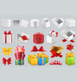gift boxes with bows 3d set icons vector image vector image