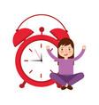girl cartoon wake up clock alarm vector image