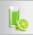 glass of lime juice in glass mojito cocktail vector image