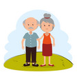 grandparents couple on park characters vector image