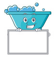 grinning with board bathtub character cartoon vector image vector image