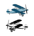 hand drawn sketch biplane aircraft in color vector image