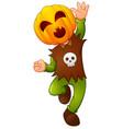 happy kid wearing pumpkin mask vector image