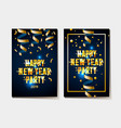 happy new year poster 2019 gold and black colors vector image