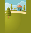 house on hill texture style concept vector image