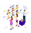 isometric hiring and recruitment concept for web vector image