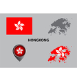 Map of Hongkong and symbol vector image