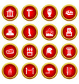 museum icon red circle set vector image vector image