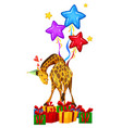 party giraffe with balloons and presents vector image