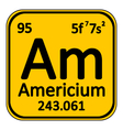 Periodic table element americium icon vector image vector image