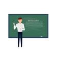 professor standing in front school blackboard vector image vector image