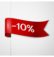 Red ribbon with inscription 10 percent discounts vector image