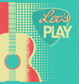 retro music poster with acoustic guitar on old vector image