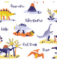 seamless cartoon dinosaurs pattern baby background vector image vector image