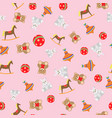 seamless pattern toys for girls vector image