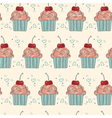 seamless pattern with decorative cupcakes vector image vector image