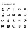 set of 20 editable hotel icons includes symbols vector image
