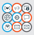 set of 9 marketing icons includes keyword vector image