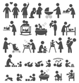 Set of family and baby pictograms flat icons vector image vector image