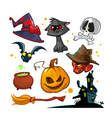 Set of Halloween characters icons vector image