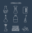 Set of linear chemical icons Painted with chalk vector image vector image