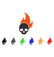 skull fire icon vector image