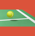 tennis ball flying under court realistic vector image vector image