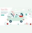 van life movement lifestyle concept family in a vector image vector image