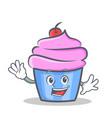 waving cupcake character cartoon style vector image vector image