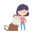 young woman with dog love adoption campaign vector image