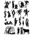 Big collection of silhouettes of Greeks vector image