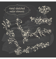 Hand sketched vintage floral elements vector image