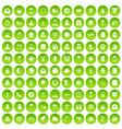 100 religious festival icons set green circle vector image vector image