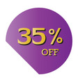 35 off discount price tag purple tag gold text vector image