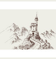 a castle in rocky mountains hand drawing vector image vector image
