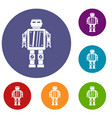 abstract robot icons set vector image vector image