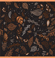 autumn seamless pattern with leaves dark vector image