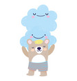 bashower cute bear with short pants and clouds vector image vector image