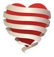 beautiful heart wrapped in a flowing banner vector image vector image
