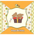birthday greeting card with teddy bear and big vector image