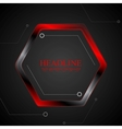 Black and red metal hexagon tech drawing vector image vector image