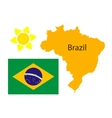 Brazil map and flag over white vector image vector image
