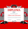 certificate car races and speed winner diploma vector image vector image